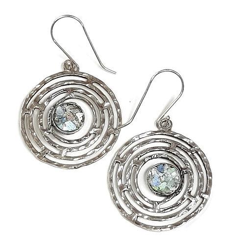 Roman Glass Sterling Silver 925 - Circle Quartet Earrings
