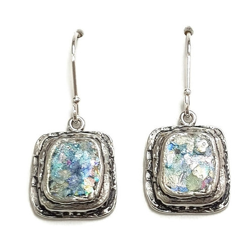 Roman Glass Sterling Silver 925 - Picture Frame earrings
