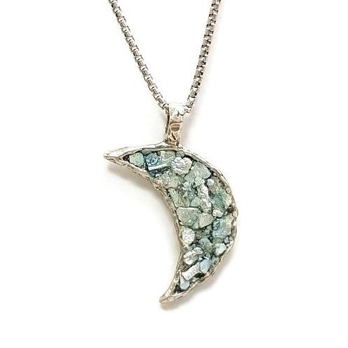 Roman Glass Silver Sterling 925 - Moonlight Pendent