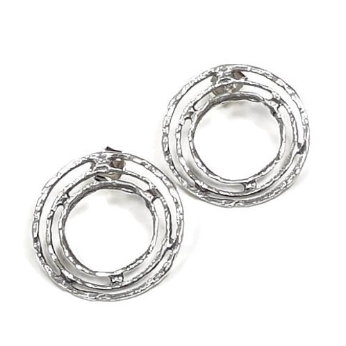 Solid Sterling Silver 925 - Circles In and Out post Back Earrings