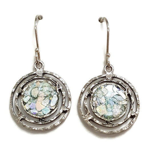 Round Roman Glass Silver Sterling 925 -  Harmony Circles Earrings