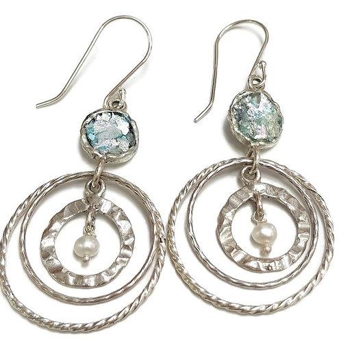 Roman Glass Sterling Silver 925  Mobile Circles Earrings