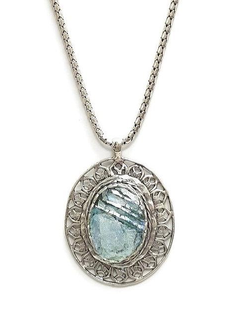 Just Filigree Oval - Roman Glass & Sterling Silver 925
