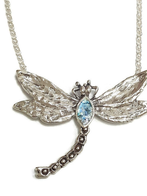 Sterling Silver and Roman Glass - Lucky Dragonfly pendant