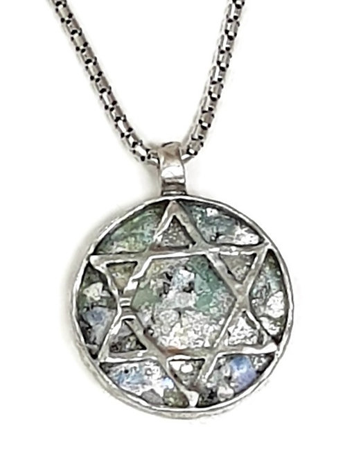 Roman Glass Sterling Silver - Star of David Pendent