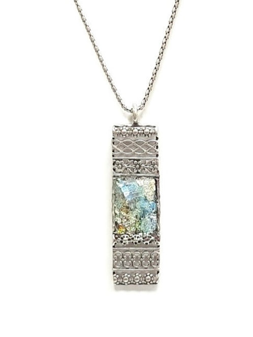 Ancient Roman Glass - Silver Lace Pendent