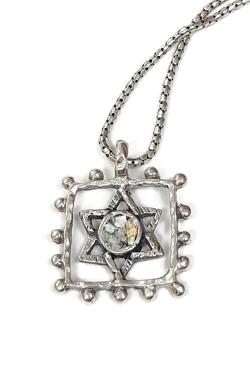 Roman Glass and Sterling Silver Star of David Pendant