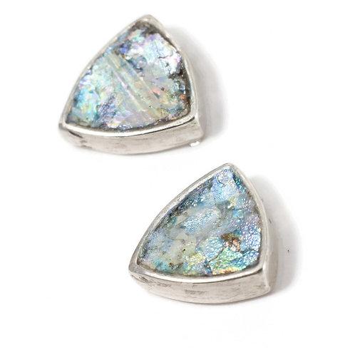 Triangle Post Back Stud Earrings - Roman Glass & Sterling Silver 925