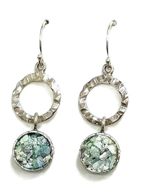 Ancient Roman Glass and Silver Sterling Hanging A-Round Earrings