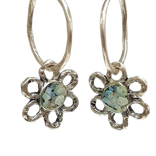 Sterling Silver and Roman Glass - My Flower Earrings
