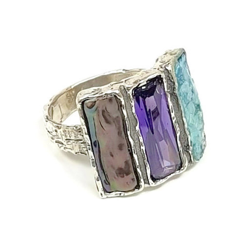 Three Baguette Ring - Roman Glass & Sterling Silver