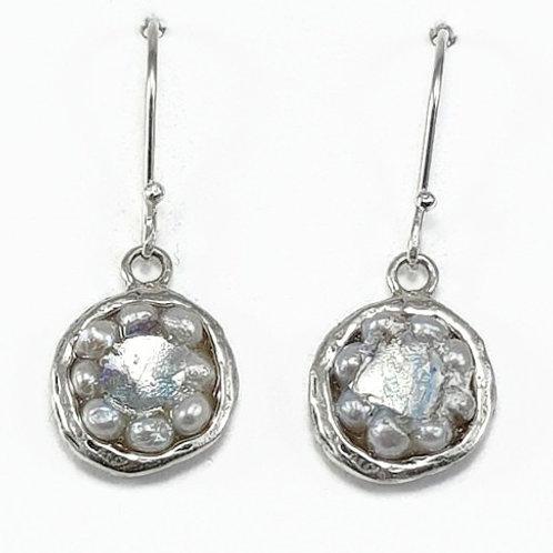 Round Dream Earrings - Roman Glass & Sterling Silver 925