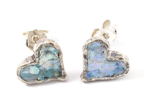 Heart & Love Earrings - Roman Glass & Sterling Silver
