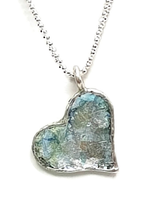 My Heart Pendent - Roman Glass & Sterling Silver 925