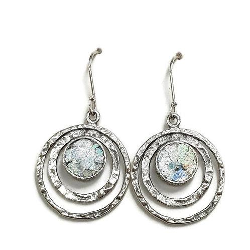 Moving Orbit Earrings - Roman Glass & Sterling Silver 925