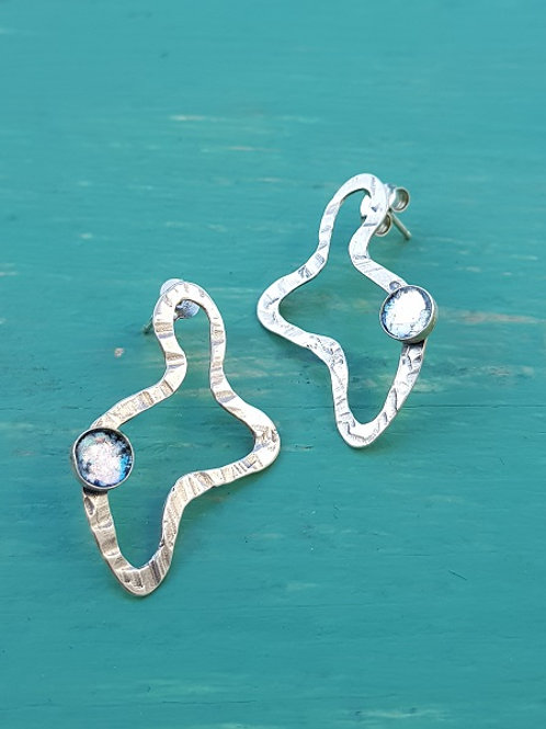 Moving Clouds Earrings - Roman Glass & Sterling Silver 925