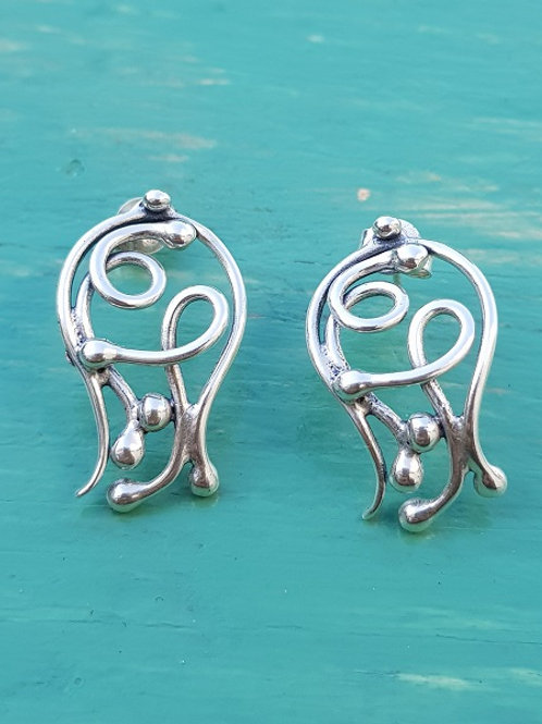 Sterling Silver 925  In the Move Post Back  Earrings