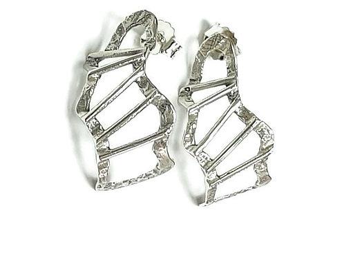 Ladder Half Hoop Earrings - Handcrafted Sterling Silver 925