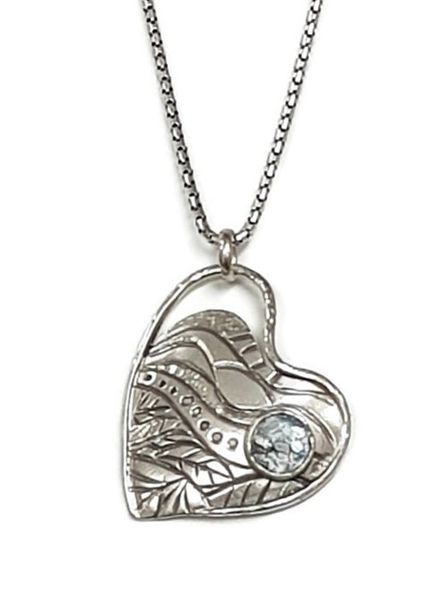 Solid Sterling Silver - Springtime Heart Pendant