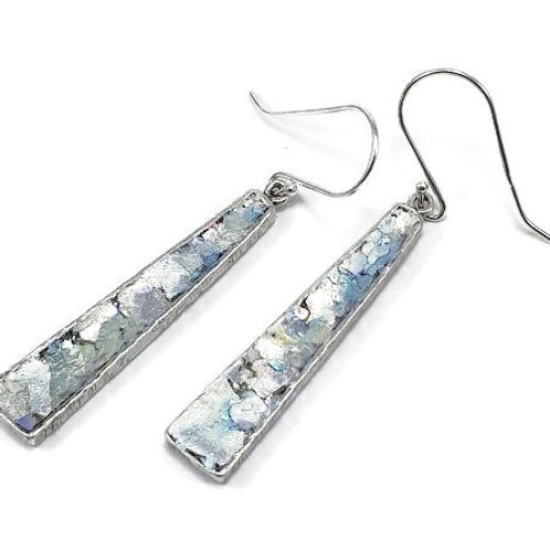 Ancient Roman Glass and Sterling Silver - Obelisque Earrings