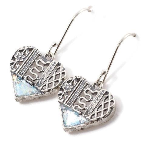 Sweet Heart Fish Hook - Roman Glass & Sterling Silver 925