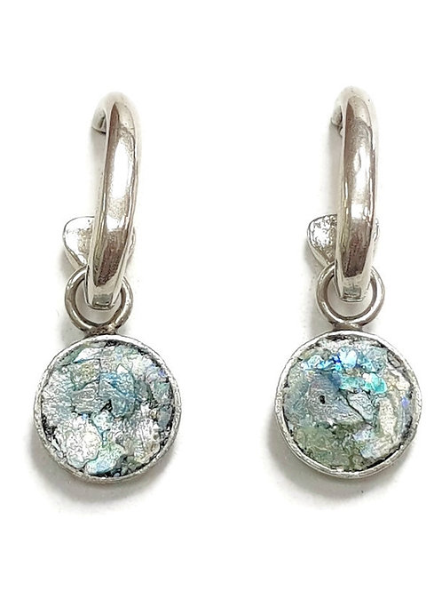 Ancient Roman Glass Silver Sterling Turning Wave Hoop Earrings