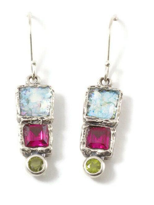 Spring Ruby Earrings - Roman Glass & Sterling Silver