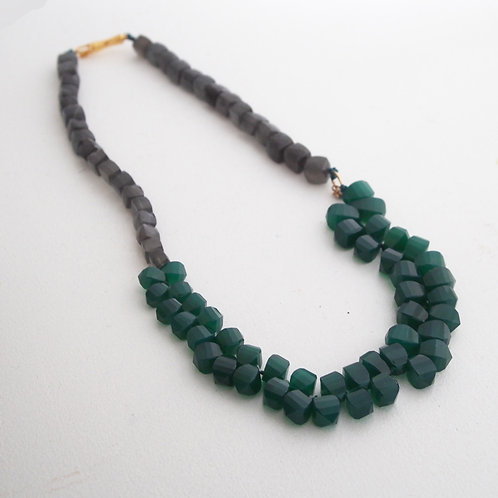 Green Agate and Gray Moonstone Necklace