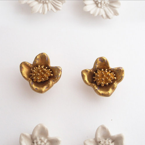 Gold Camellia Earrings