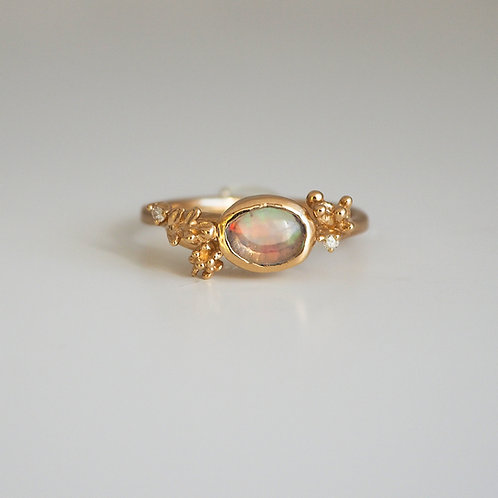 Water Opal Oval-cabochon Ring