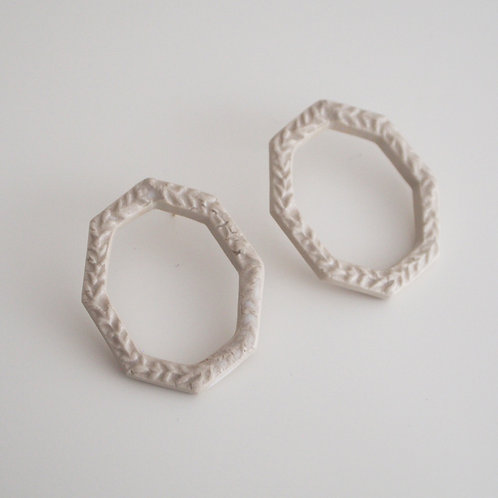 White porcelain Octagon  Earrings -Big-