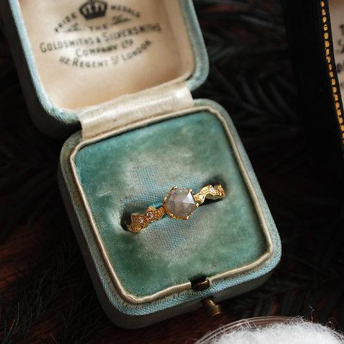 Hexagon Gray Diamond Ring