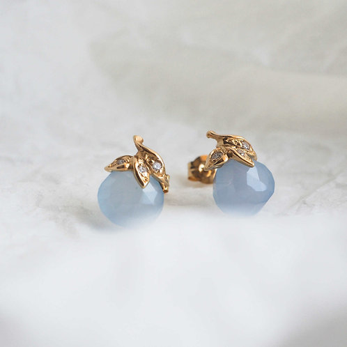 Chalcedony and Diamond leaf Earrings