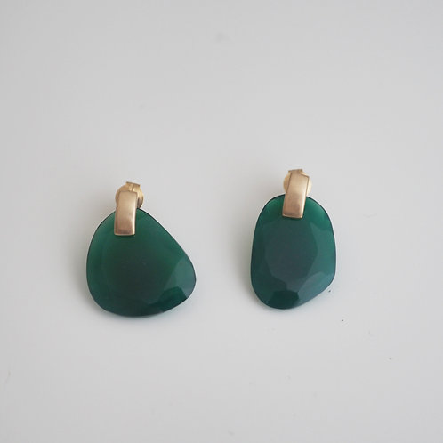 Green Agate + Box Earrings  -L-