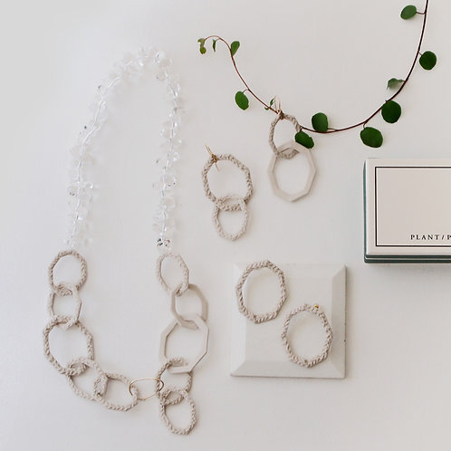 White porcelain Octagon series Necklace
