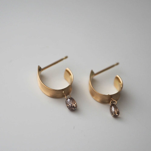 Brown Diamond+ Leaf Hoop Earrings -L-