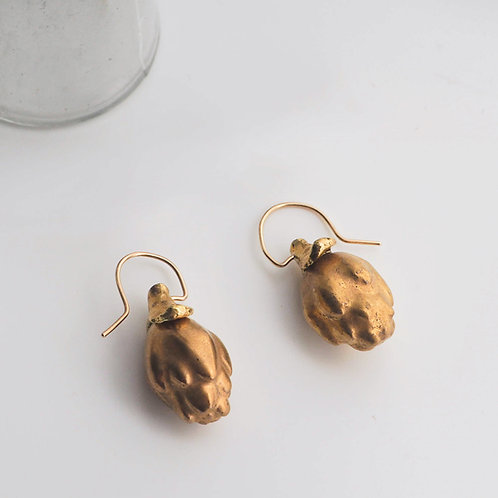 "Gold glaze Porcelain Earrings ""artichoke"""