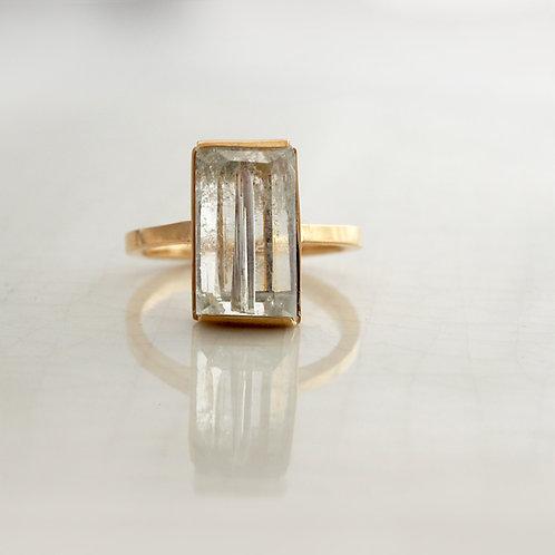Aquamarine Rectangle Ring -S-