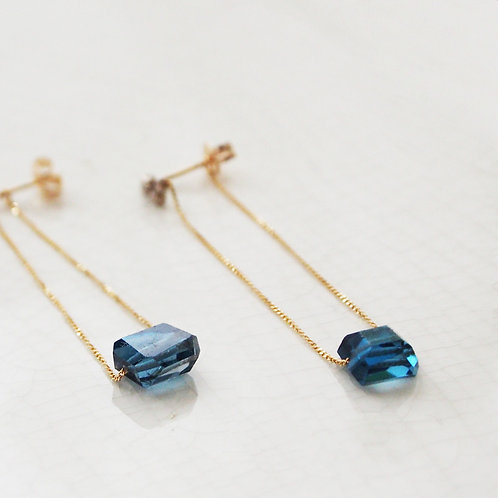 London Blue Topaz Long chain Earrings
