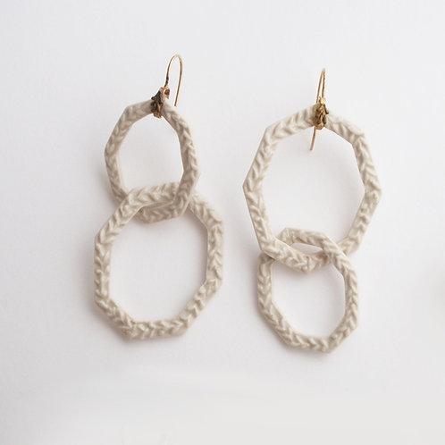 White porcelain Octagon Double Hook