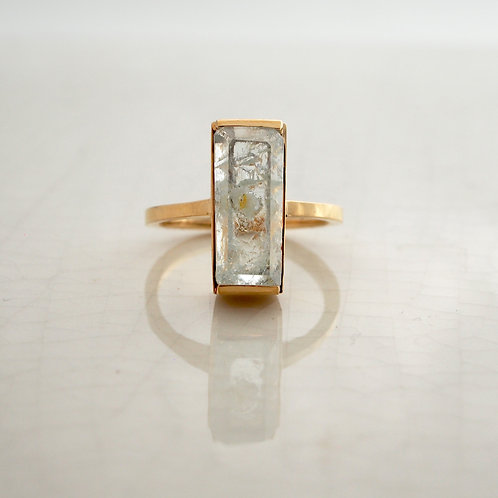 Aquamarine Rectangle Ring -M-