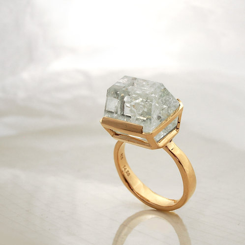 Aquamarine Rectangle Ring -L-