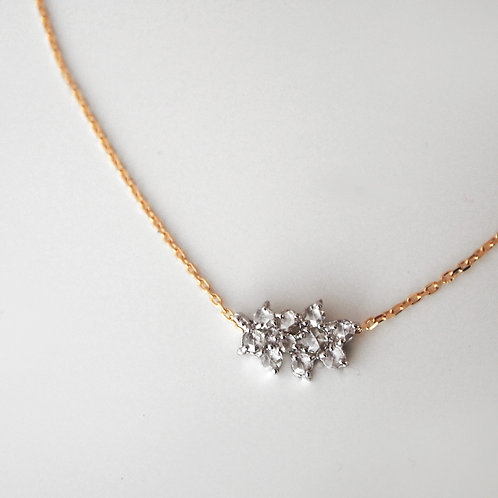 "Rose cut Diamond ""Leaf"" Necklace 0.25ct"