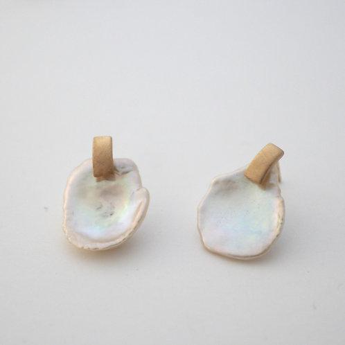 Pearl + Box Earrings  -L-