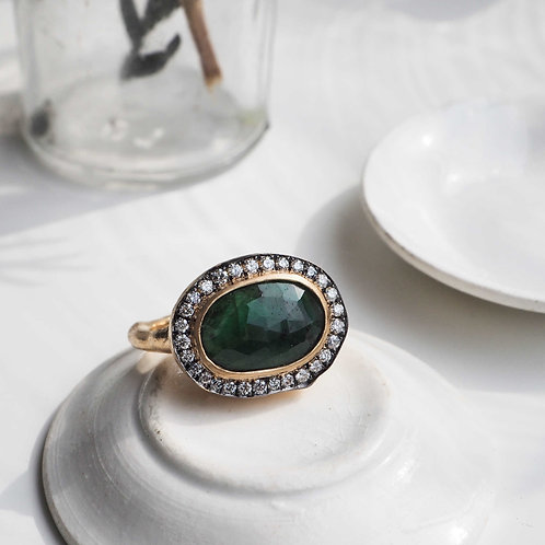 Natural Emerald and Diamond Ring -L-