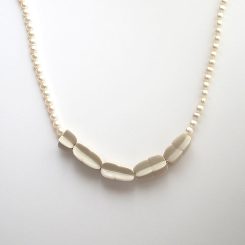 White porcelain Legume Seed Necklace