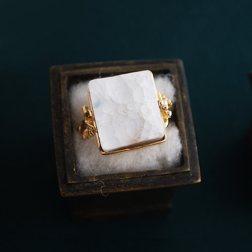 White Agate Ring
