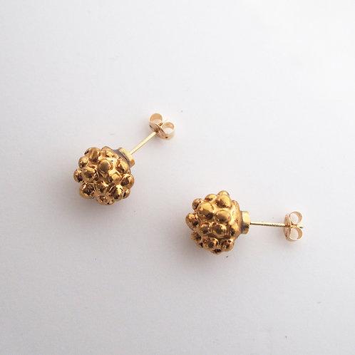 Gold Raspberry Earrings
