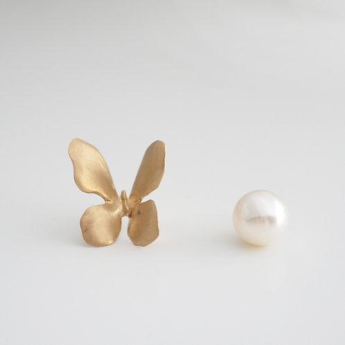 Gold Butterfly Earring + Pearl
