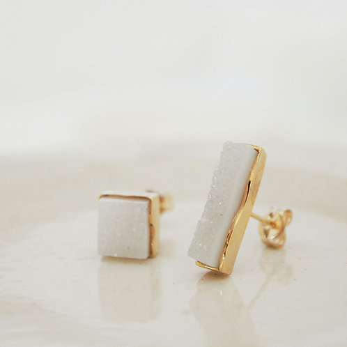 Love! Square! White Agate Studs